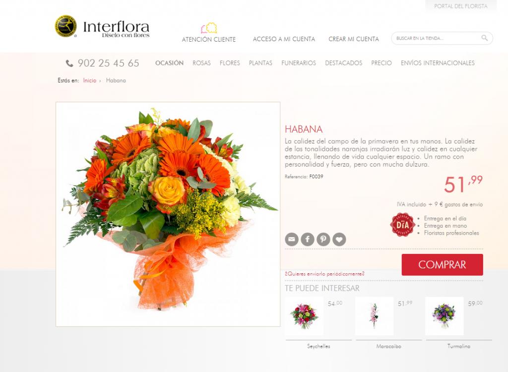 Descripciones de producto en Interflora