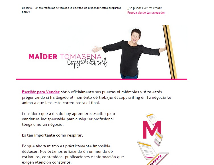 Maïder Tomasena identifica perfectamente sus newsletter utilizando su imagen de cabecera