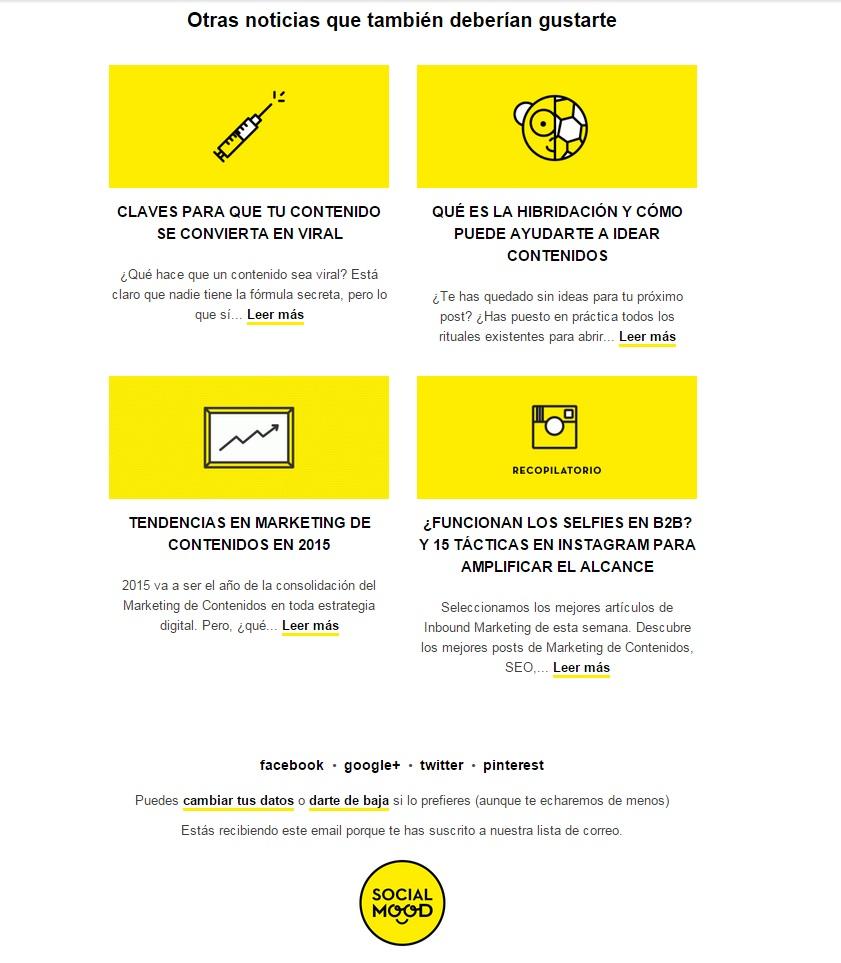 Socialmood inlcuye al final de sus newsletter la posibilidad de darte de baja y enlaces a sus diferentes redes sociales