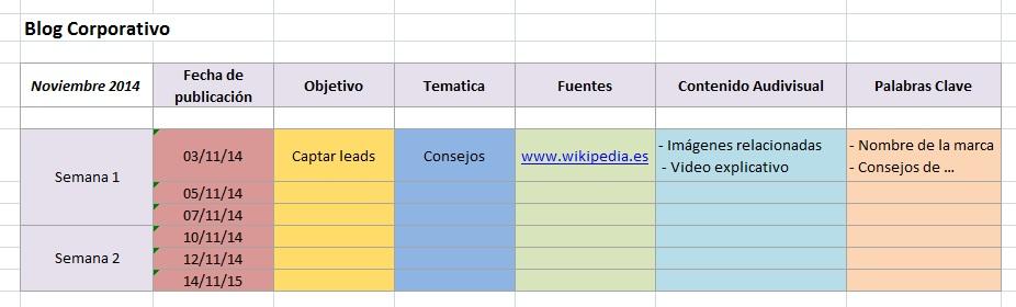 Calendario editorial para contenidos