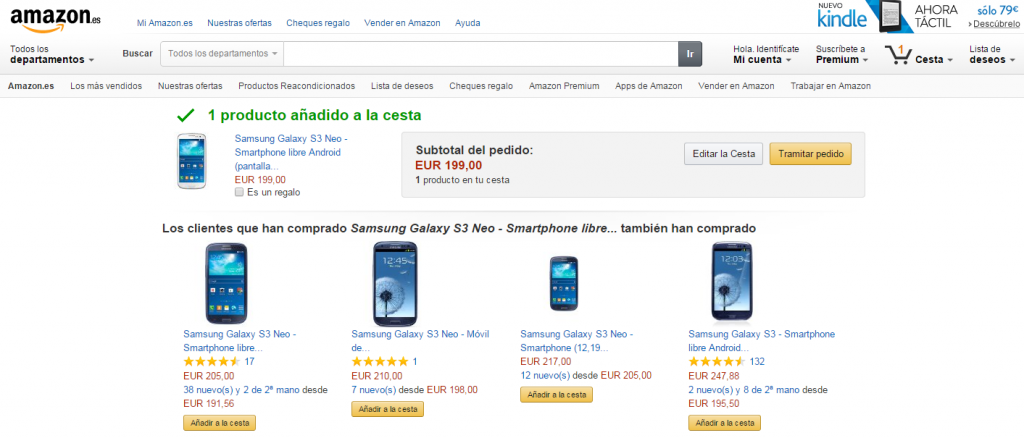Ejemplo UpSelling Amazon
