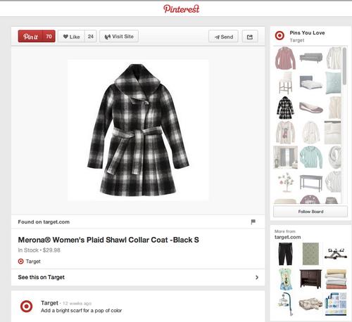 Ejemplo de pin enriquecido en Pinterest, con precio e información del stock