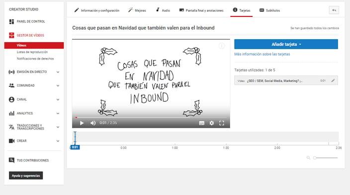 Tarjetas de YouTube vídeo Navidad Posizionate