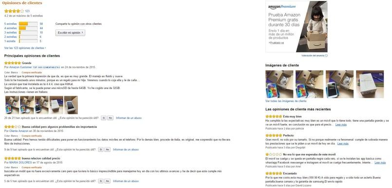 Valoraciones en Amazon