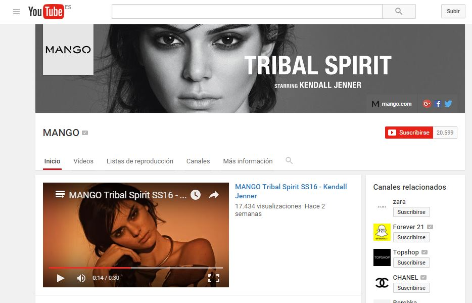 Mango trabaja en su canal Youtube el video marketing