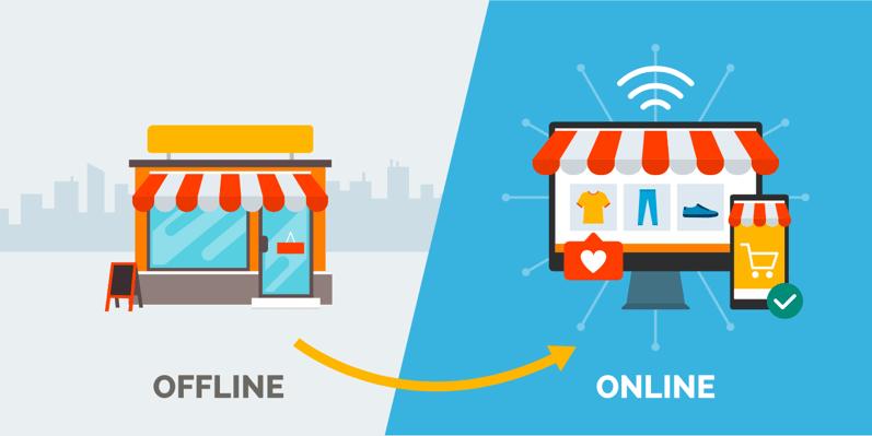 tienda offline vs online